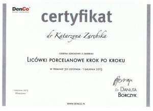 certyfikat licówki